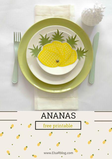 Ananas waaier free printable voor een tropisch feest (Tafel dekken, free…
