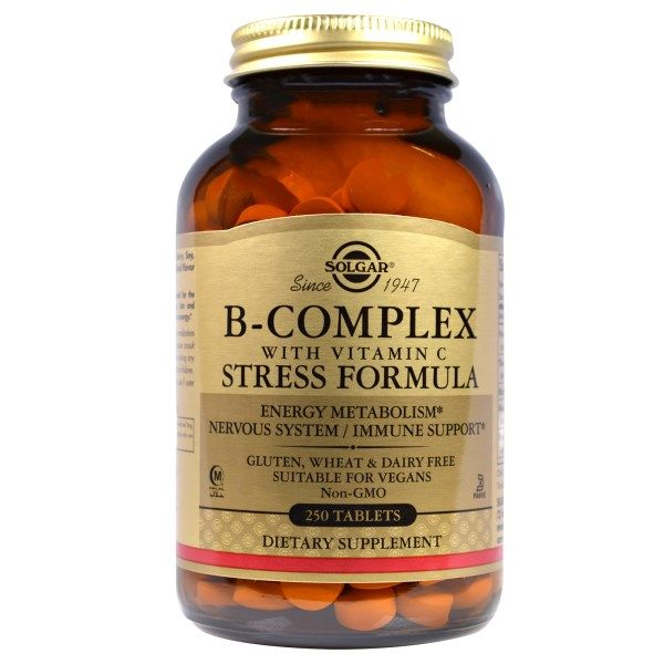 Solgar, B-Complex with Vitamin C Stress Formula, 250 Tablets  #stress #formula #support #balance #management #iherb #thingstobuy #shopping #relief