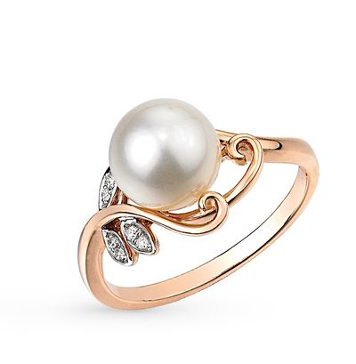Золотое кольцо с бриллиантами и жемчугом купить по цене 8991 руб.: розовое золото 585 пробы, 6 бриллиантов, жемчуг культивированный. Смотреть фото и описание 13151 - Sunlight Brilliant