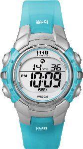 Timex Women's T5K460 1440 Sports Digital Silver/Translucent Blue Resin Strap Watch: Watches: Amazon.com