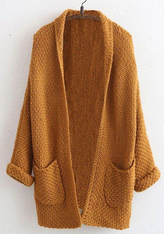 Coffee Plain Pockets V-neck Casual Cardigan Sweater