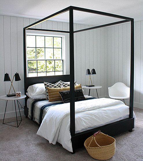 Black canopy bed + white shiplap walls | House Seven Design