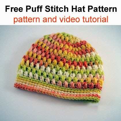 Free Puff Stitch Hat Pattern (pattern and video tutorial)