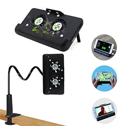 #OceanEC Portable USB Cell Phone Cooler with 4500mAh Power Bank and Gooseneck Stand 4 in 1 Cellphone Game Stand for iphone Smart Phones (Black)