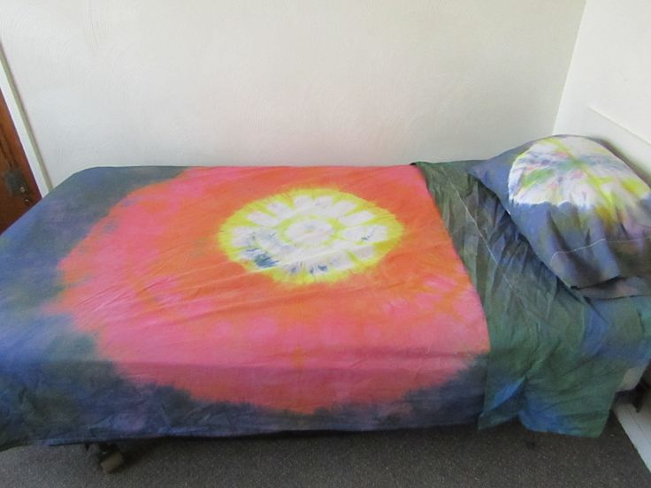 Shibori and Tie Dyed, Cotton Twin Size Bed Sheet Set, Colorful by Dreamcrafter on Etsy