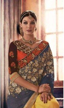 Slate Grey Color Georgette Designer Wear Style Saris Blouse | Follow @heenastyle << #designersarees, #partywearsareesonline, #sareeonline, #latestcollection, #bridalsaree, #cottonsaree, #bollywoodsarees, #onlineladiessarees, #sarees, #sari, #saris, #saree, #designersaris, #festivalssaris, #shoppingsareesonline, #onlineindiandesignerbollywoodsarees, #fashionsaris, #weddingsarees, #newstylistIndiansarees, #silksaree, #heenastyle, #heenastylesari #hennasari, #readytowaersaree, #lehengasaree