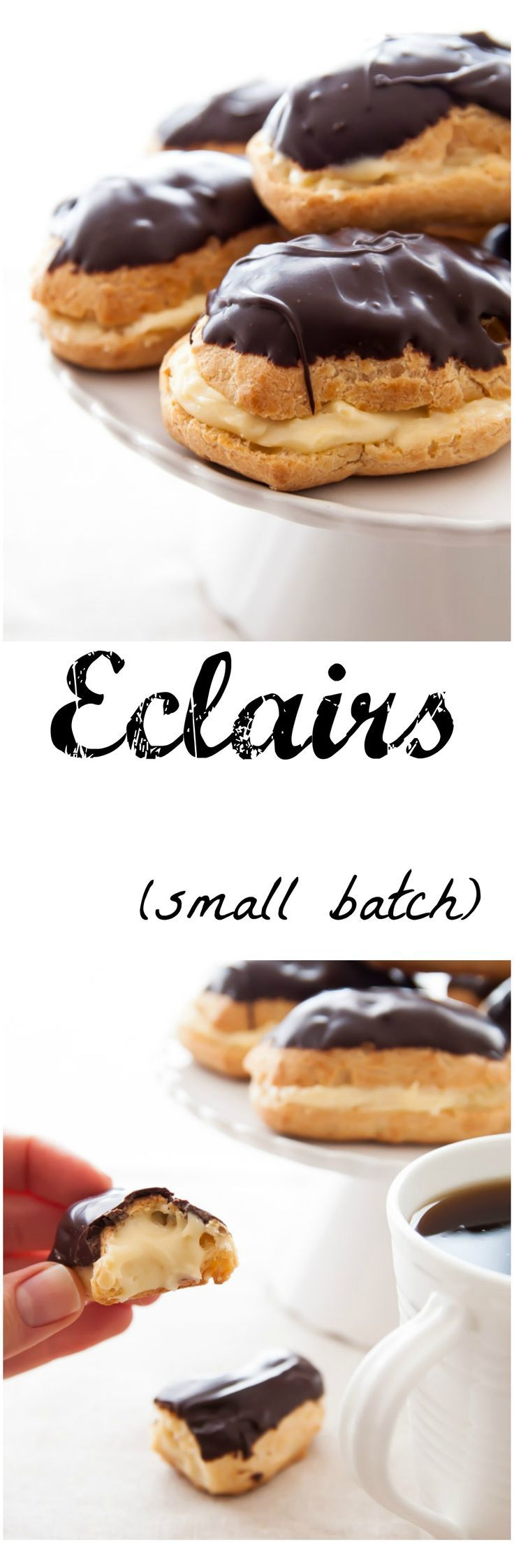 Eclairs made from scratch. Easier than you think, plus easy pastry cream recipe. Small batch recipe so quick to make!