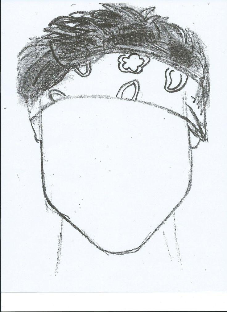 sketch of ashton irwin copied onto a full piece of