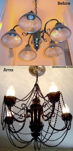 The latest - a diy brass chandelier makeover. Complete with spray paint, mardi gras beads, and acrylic jewels. So much better than our old lighting!