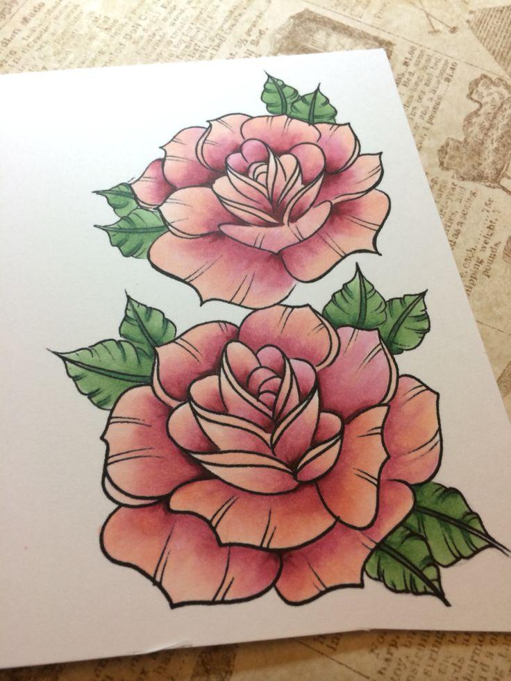 Digital stamp of roses