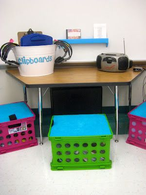 Kindergarten Smiles: August 2012--seats made for the crates and books on tape/cd are stored in the crate. Wireless headphones