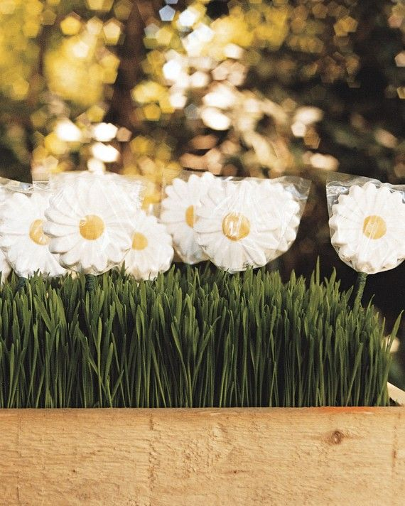"""More chocolate blossoms in grassy planters will invite guests to take their pick; floral tape conceals wood """"stems."""""""