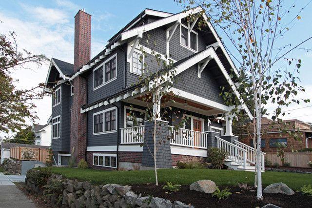 Gray Siding With Red Brick Split Level Porch Pinterest