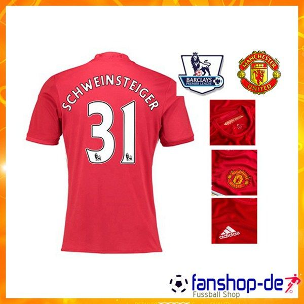 Neueste Manchester United SCHWEINSTEIGER 31 Heimtrikot Rot 2016 2017 Fan  Shop Kaufen