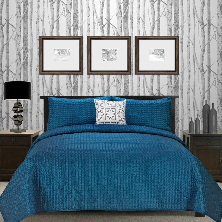 Blue and Grey Bedroom. I like this bed, probably not the tree background though.