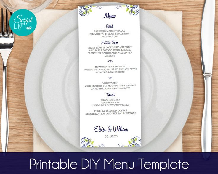 """Lime Green and Navy Blue Menu Card TEMPLATES   'Swirl Leaf'   Wedding   Dinner   DIY Edit & Print   Tea Length    Word or Pages   9.25 x 4"""" by ScriptAndLily on Etsy"""