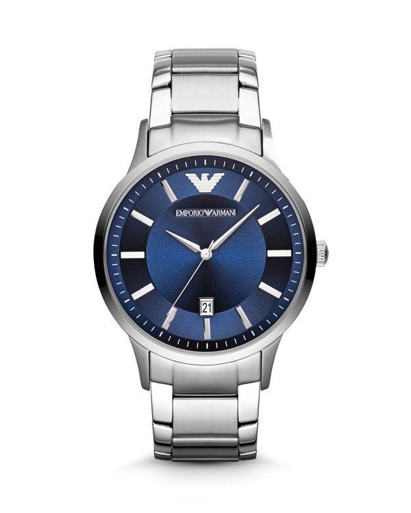 Emporio Armani 3-Hand Blue Dial Watch, 46mm
