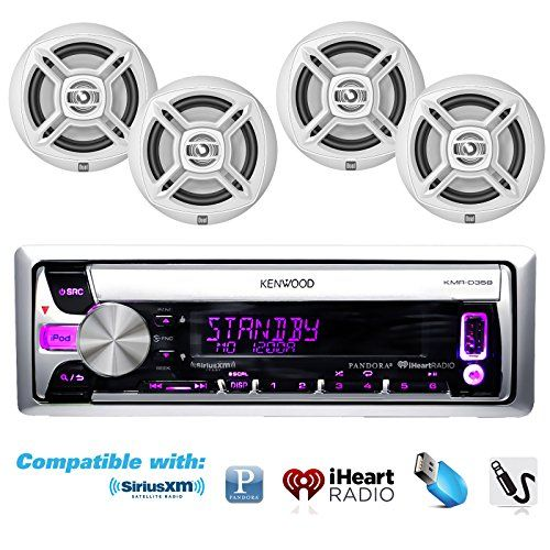 Special Offers - New Kenwood Outdoor KMR-D358 Marine Boat /Car ATV AM/FM Radio CD/MP3 USB iPod iPhone Pandora Stereo Player With 4 New 6.5 Inch White Dual Marine Speakers System  Graet Marine Audio Package - In stock & Free Shipping. You can save more money! Check It (April 30 2016 at 08:12AM)…