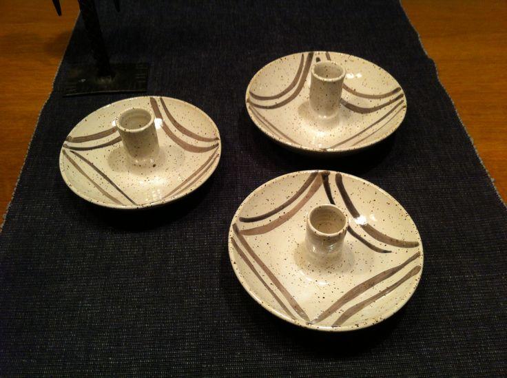 Candle holders. Stoneware.