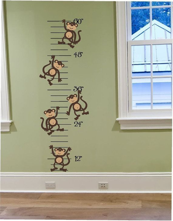 Silly Monkeys Growth Chart Vinyl Wall Decal Made in USA - Growth Chart for Your Monkey Theme - For Any Room Pink or Blue, Green or Red on Etsy, $57.10 CAD