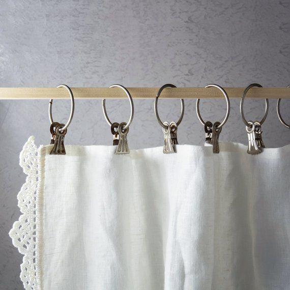 Vintage Curtain Hooks Set Of 10 Soviet Vintage Metal Rings Etsy Vintage Curtains Curtain Hooks Curtain Clips