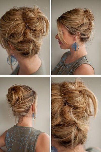 Split in half (top/bottom). Bottom upward fr twist pin. Top wrap bun pin. Easiest up-do bun ever.
