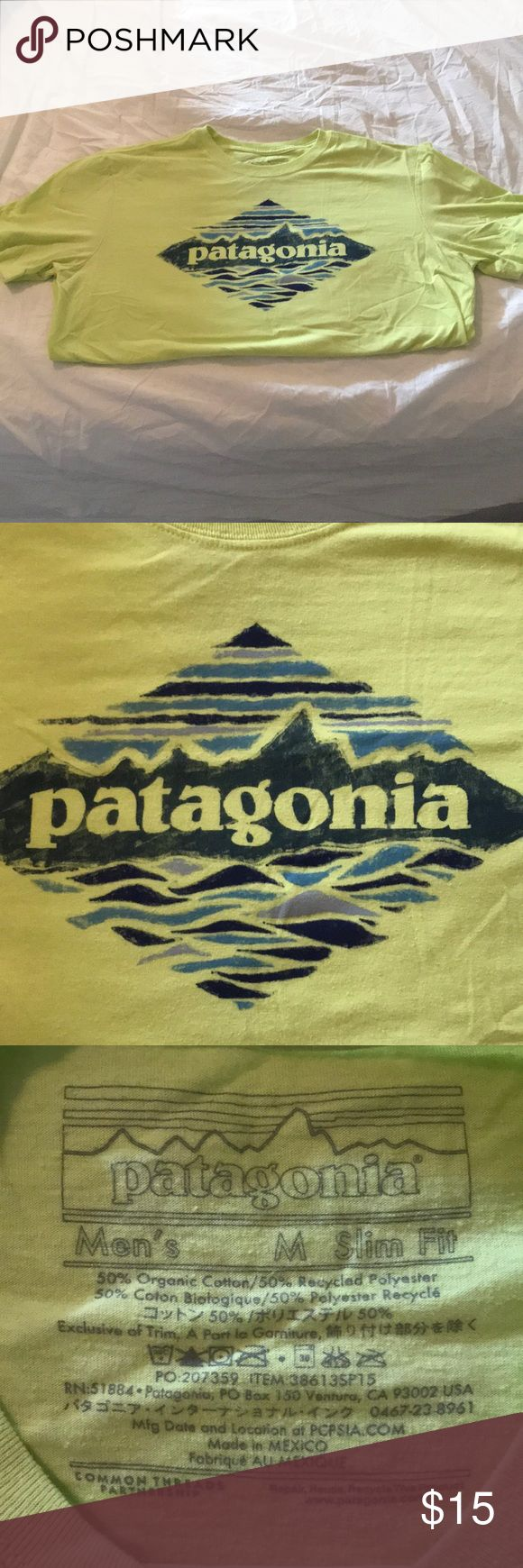 Patagonia t shirt Lime green fitted Patagonia t shirt. It's slim fit so fits more like a small. It's technically a men's shirt but of course is a gender neutral shirt Patagonia Shirts Tees - Short Sleeve