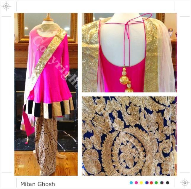 Short #Anarkali w/ heavily embroidered Shalwar & Dupatta w/ all-over crystal motifs by Mitan Ghosh, New Jersey http://www.pinterest.com/mitanghosh/ https://www.facebook.com/mitan.ghoshrc