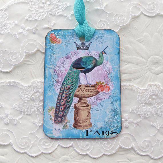 Tags Peacock Gift Hang Tea Party Favor Bird by EnchantedQuilling