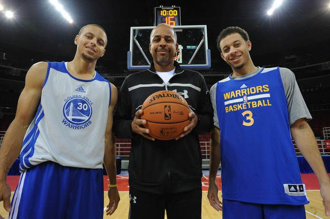 dell curry   hi-res-184432639-stephen-curry-dell-curry-and-seth-curry-of-the-golden ...