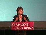 Martine Aubry, 1ère secrétaire du PS.   Elle s'est présentée à la candidature. Elle soutient le candidat officiel François Hollande.