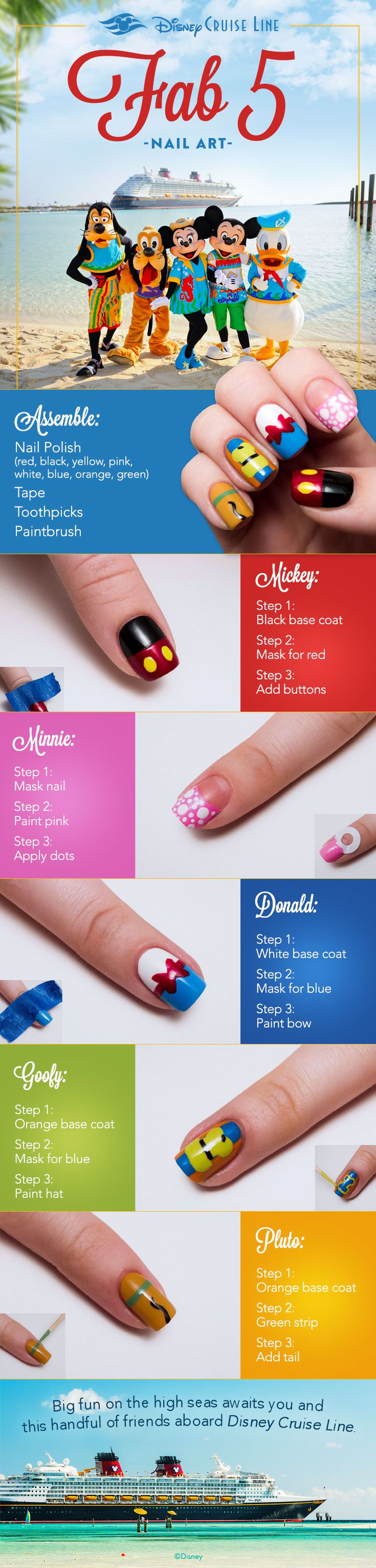 Give you nails real character when preparing for you next Disney Cruise Line sailing. Check out this fun tutorial featuring the lovable Fab Five!