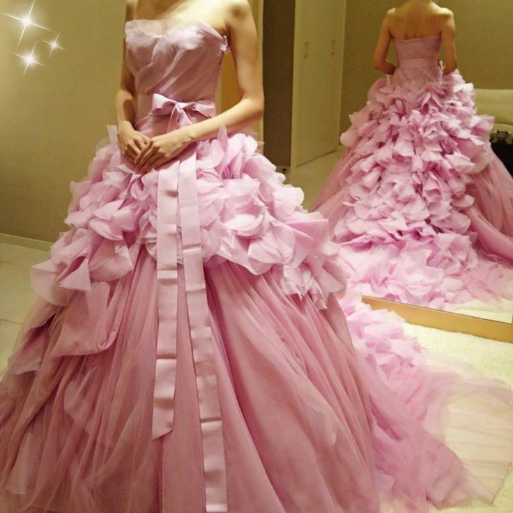 「ピンクのヘイリー♡♡ #ハツコエンドウ #verawang #ヴェラウォン #hayley #ヘイリー #プレ花嫁 #カラードレス試着 #wedding」