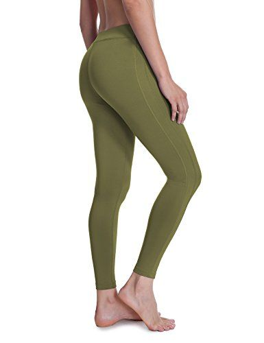 60ab478bfacbcf SYROKAN Womens Running Sports Tights Workout Leggings Comfort Flex Pants  Olive green S >>> You can get more details by clicking on the image.