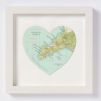 Sorrento Map Print Heart
