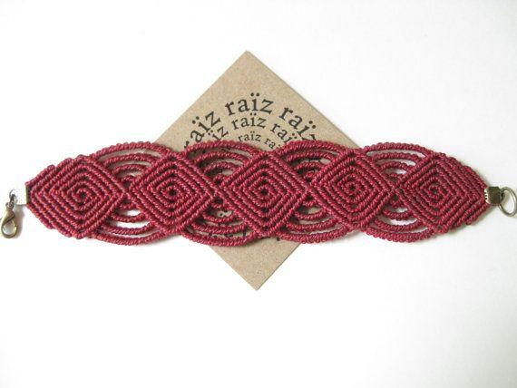 Handwoven Micro Macrame Textile Bracelet Jewelry . Modern Macrame Wristband Fiber Jewellery . Boho Hippie Casual Chic . by raiz
