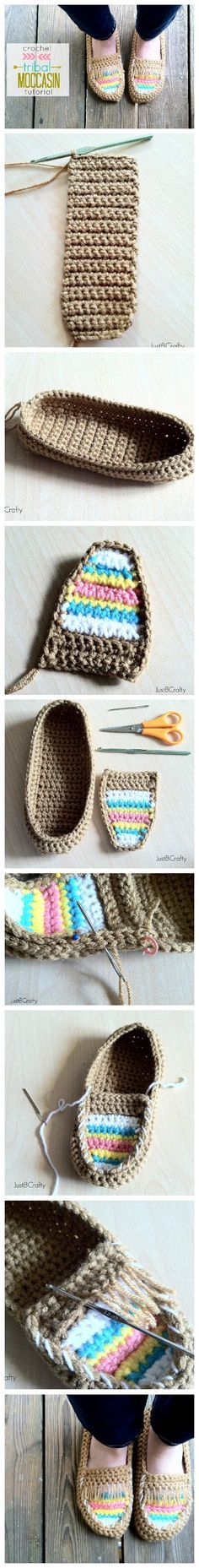 DIY Crochet Tribal Moccasin – Free Pattern ☂ᙓᖇᗴᔕᗩ ᖇᙓᔕ☂ᙓᘐᘎᓮ http://www.pinterest.com/teretegui