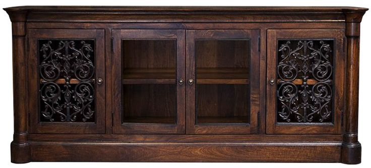"Spanish Hacienda Style Furniture MEDIA CABINETS Palomar Cabinet w/Glass & Iron Doors 82"" Long x 20"" Deep x 35"" Tall $1,775.00"
