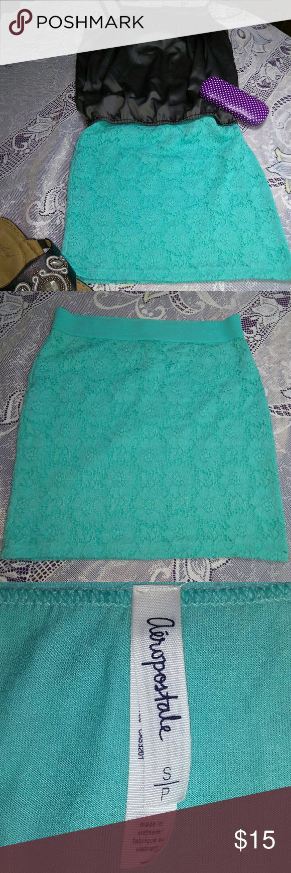 AEROPOSTALE Mint Green Stretch Lace Mini Skirt Cute, stretchy body con mini skirt Wide elastic waist band Fully lined  , Aeropostale Skirts Mini
