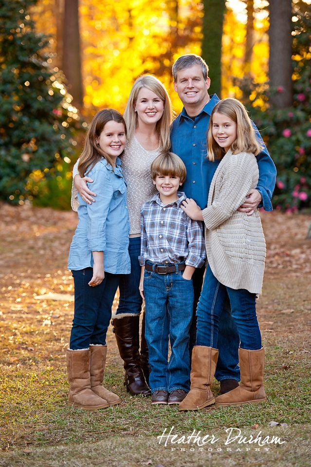 Family portrait backlit with fall color • Family portraits • Heather Durham Photography • Birmingham, AL family & kids photographer