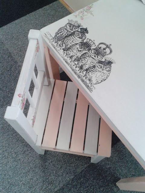 painted furniture malowanie mebli  metamorfoza  stolik i krzesełko z Ikea  table and chair Ikea