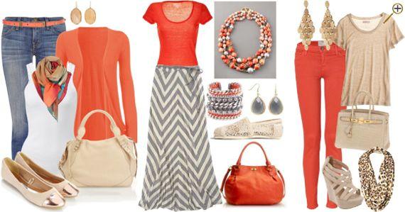 Сочетание оранжевого цвета в одежде Этот цвет может создавать множество очень привлекательных комбинаций. К оранжевому оттенку относится и коралловый цвет (см. сочетание кораллового в одежде). Самыми привлекательными на мой взгляд будут сочетания оранжевого с белым, бежевым, джинсовым, бирюзовым, красно-фиолетовым, фуксией, синим, зеленым, коричневым и голубым.