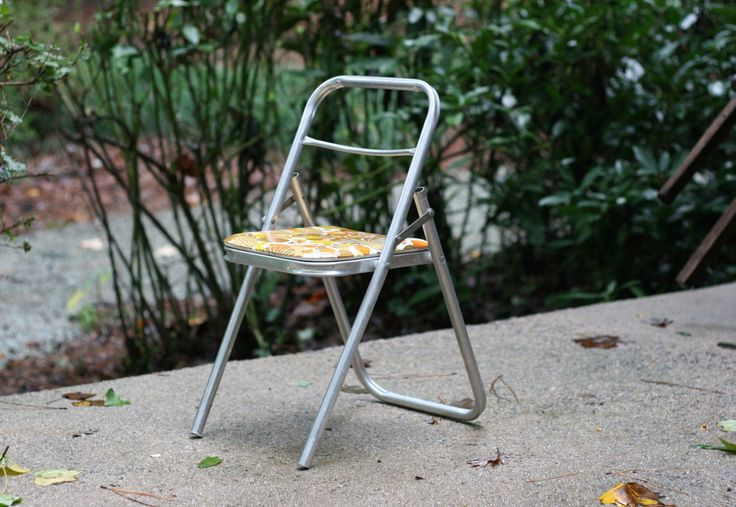 Vintage Child's Folding Aluminum Chair with Mushroom Seat / Mushroom Chair Mushroom Plant Stand / Small Mushroom Chair by theretrobeehive on Etsy