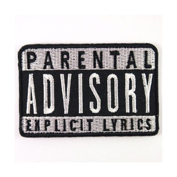 PARENTAL ADVISORY EXPLICIT LYRICS ROCK MUSIC Embroidered Iron On... (£4.41) ❤ liked on Polyvore featuring costumes, fillers, patches, accessories, bags, extra, punk rock costume, punk costume, punk rock halloween costume and punk halloween costume