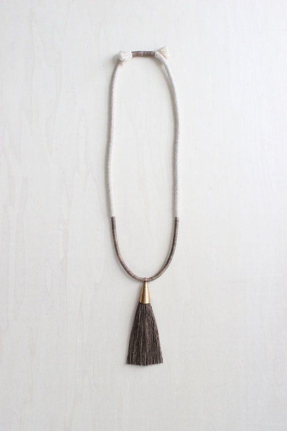 DEMETER necklace natural dye cotton and silk fiber by forestiere