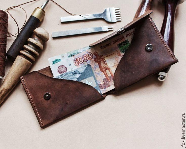 Купить компактный бумажник из натуральной кожи - коричневый, натуральная кожа, мужской кошелек, маленький кошелек