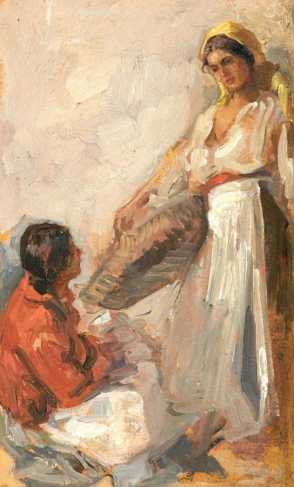Nicolae Vermont, Florărese - ulei pe carton, 20.00 × 13.00 cm