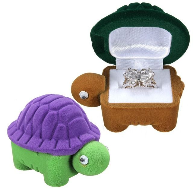 New Velvet Ring Box Jewelry Display Storage Foldable Cute Turtle Shape Case For…