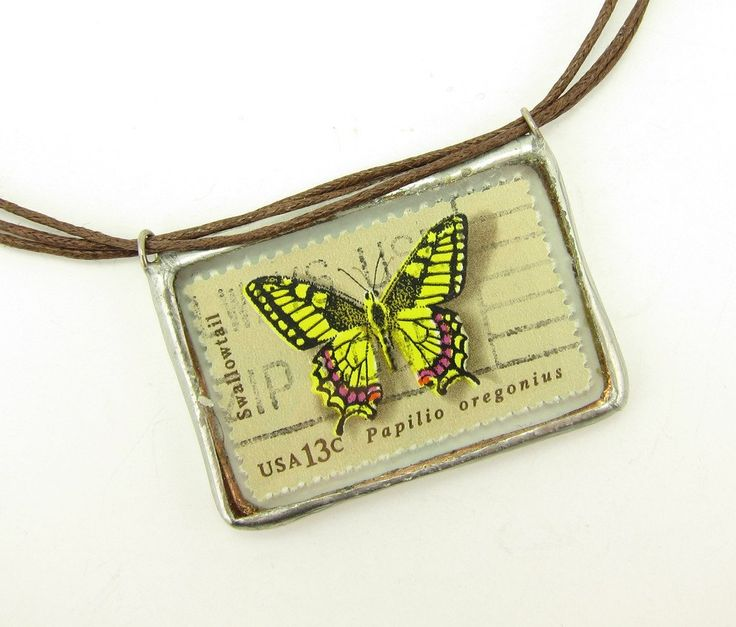 Soldered Pendant Necklace with Butterfly Postage Stamps