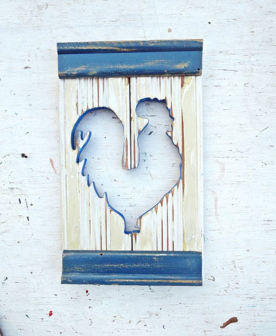 Chicken Wall Art, Salvaged Wood Decor, Distressed Wood Hen, Cream nursery Decor…